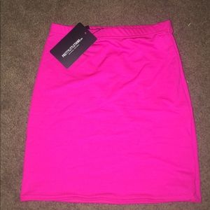 Hot pink skirt from prettylittlething